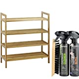 4-Tier Bamboo Stackable Shoe Rack with Boot & Shoe Cleaning Protection Kit