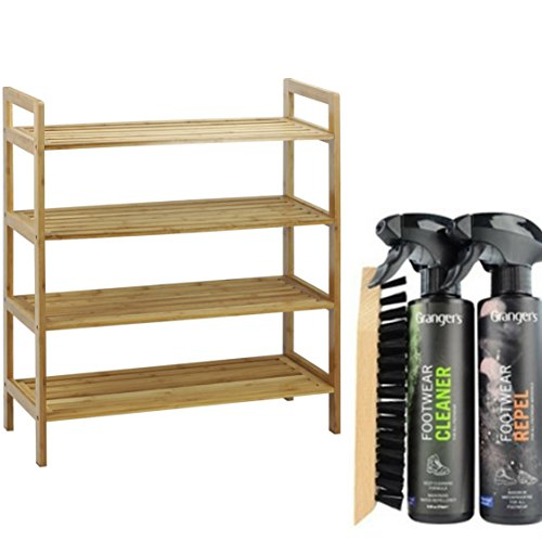 4-Tier Bamboo Stackable Shoe Rack with Boot & Shoe Cleaning Protection Kit by Oceanstar