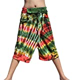 Raan Pah Muang RaanPahMuang Fisherman Tie Dye Wrap Waist Capri Pants Straight Cut Warm Cotton, Medium, Green/Yellow A Review
