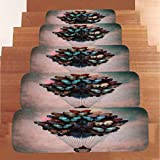 YOYORI Stair Mat, 1Set StepBasic Non-Slip Coral Fleece Resistant Carpet Stair Mat Stair Tread Carpet Indoor Durable Mat Self Adhesive Floor Staircase Mat (G)