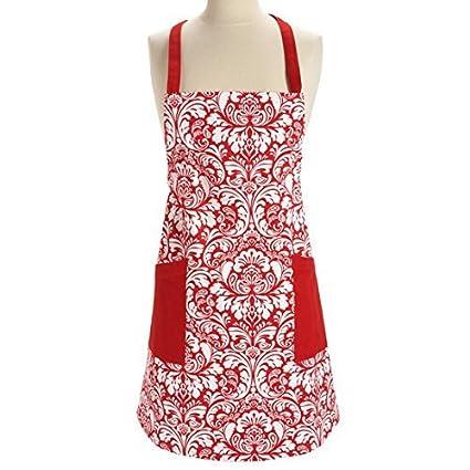 eDealMax 100% algodón lavable Máquina para hornear Delantal de la cocina con 2 bolsillos Rojo