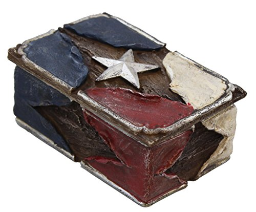 Rustic Red White & Blue Trinket / Jewelry Box - Silver St...