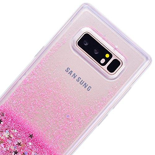 WE LOVE CASE Funda Samsung Note 8, Transparente Liquida Glitter Bling Con Brillantes Suave Funda Samsung Galaxy Note 8 Purpurina Silicona Cubierta Clear Cover, Original Flexible Gel Dibujos Anti Rasgu Estrella Rosa