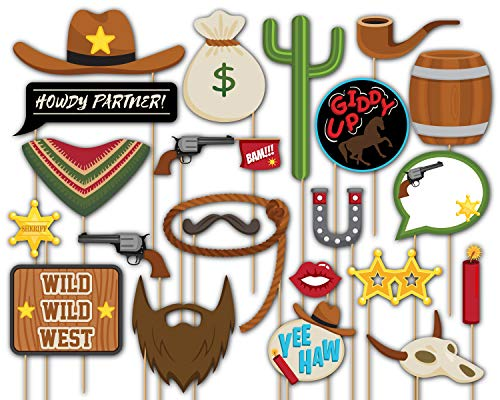Birthday Galore Cowboy Western Photo Booth Props Kit - 20 Pack Party Camera Props Fully Assembled