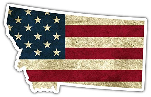 "Montana State Shaped American Flag Pro US Vinyl Bumper Sticker Decal 3""X 5"""