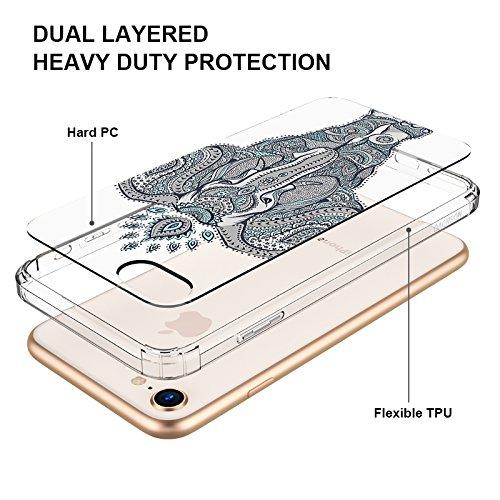 Funda iPhone 7, MOSNOVO Cute Series Transparente Cover Diseño de Plástico Impreso con TPU Bumper Protectora de Espalda Cubierta para iPhone 7 (4.7) (Sushi) Elephant