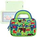 Evecase Fire HD Kids Edition Tablet / Kindle Oasis E-Reader Sleeve, Cute Animal Themed Neoprene Travel Carrying Slim Sleeve Case Bag w/ Dual Handle and Accessory Pocket - Green w/ Blue Trim