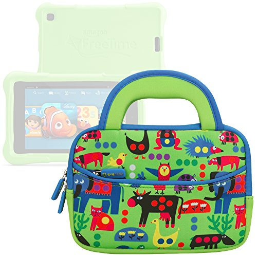 Evecase All New Fire 7 Kids Edition Tablet Sleeve  Cute Animal Themed Neoprene Travel Carrying Slim Sleeve Case Bag W  Dual Handle And Accessory Pocket   Green W  Blue Trim