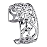 Designs by Nathan 925 Silver Polished Love's Heart Filigree Bangle Cuff Bracelet, 2 1/2 Inches Wide