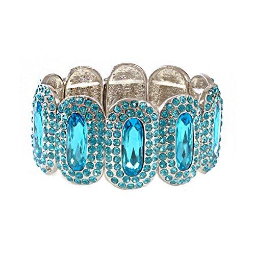 Silver Aqua Rhinestones around Aqua Oval Shapes Stretch Bracelet (Rhinestone Bracelet Aqua)