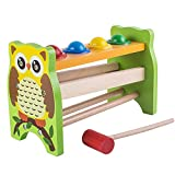 Enshey Wooden Pounding and Hammering Educational Bench Knock Off Ball Toys Percussion Punch and Drop Instruments Pound Roll with Mallet for Toddler - Perfect Christmas Gift for Your Kids