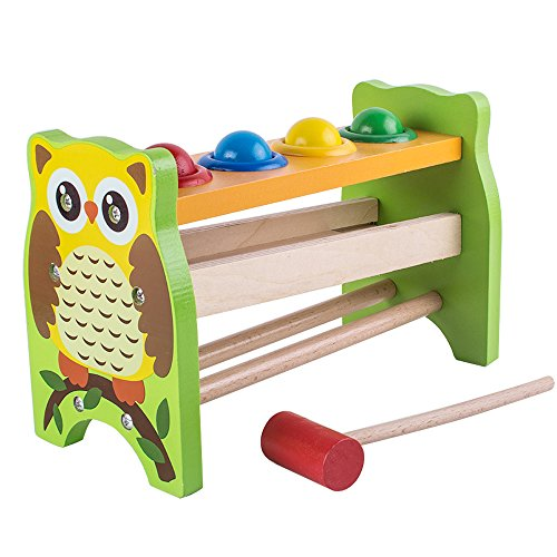 Enshey Wooden Pounding and Hammering Educational Bench Knock Off Ball Toys Percussion Punch and Drop Instruments Pound Roll with Mallet for Toddler - Perfect Christmas Gift for Your Kids by Enshey