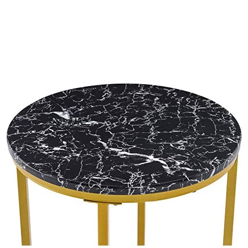Living Room VINGLI Modern End Table, Round Side Table with Golden Metal Frame for Bedroom, Living Room, Accent Coffee Table… modern coffee tables