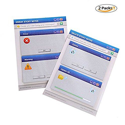 Chris-Wang 2Sets Novelty Funny Computer Error/Warning/Delete/All Delete Peel and Stick Self-Stick Message Sticker Sticky Notes Memo Pads, 30 Sheets x 4 Pads, 120 Sheets in Total