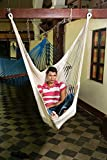 Handmade Hammock Swing Chair – Extra Large Natural Indoor or Outdoor Strech Out Patio Hammock Chair No Bar (Off-White) Mission Hammocks
