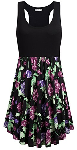 Sixother A Line Woman's Dresses, Hawaiian Vintage Elegant Robe Dress with Pocket Sleeveless Scoop Neck Party Dress Soft Stylish Floral Flowy Female Shirt Dresses for Summer Black Green L