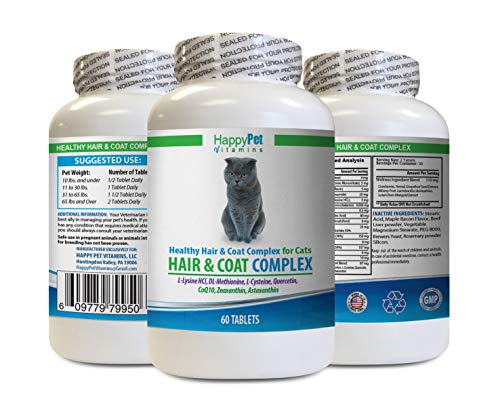 HAPPY PET VITAMINS LLC Minerals for Cats - Cats Natural Hair and Coat Complex - Immune System Boost - Nail Health - cat Vitamin c - 1 Bottle (60 Tablets)