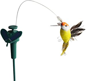 Solaration Solar or Battery Powered Fluttering Hummingbird, Real Feather Wings and Tails