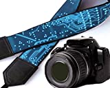 Computer camera strap. Microscheme camera strap. Circuit board camera strap. Bright blue green original DSLR / SLR camera strap. Durable, light weight and well padded camera strap. code 00144