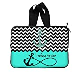 WECE Cute Turquoise Block Chevron Zigzag Infinity Anchor Quotes I refuse to Sink Notebook Laptop Sleeve Case with Strap or Handle - Macbook, Macbook Air/Pro 13 Inch Laptop Sleeve Case Bags