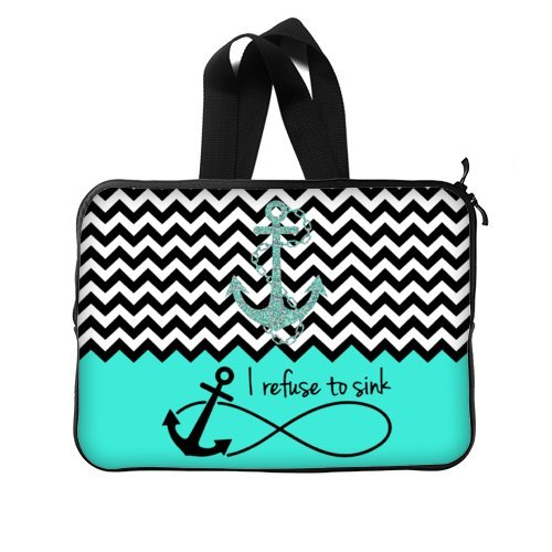 WECE Cute Turquoise Block Chevron Zigzag Infinity Anchor Quotes I refuse to Sink Notebook Laptop Sleeve Case with Strap or Handle - Macbook, Macbook Air/Pro 15 Inch Laptop Sleeve Case Bags