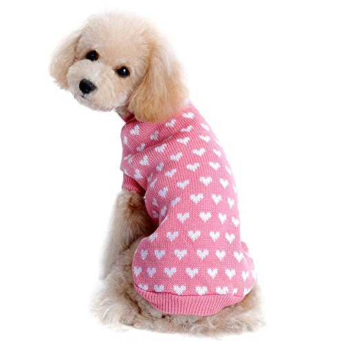 Kuoser Autumn Winter cute Dog Sweater with Lovely Heart pattern Pink Knitwear Dog clothes pet sweater, Pink S