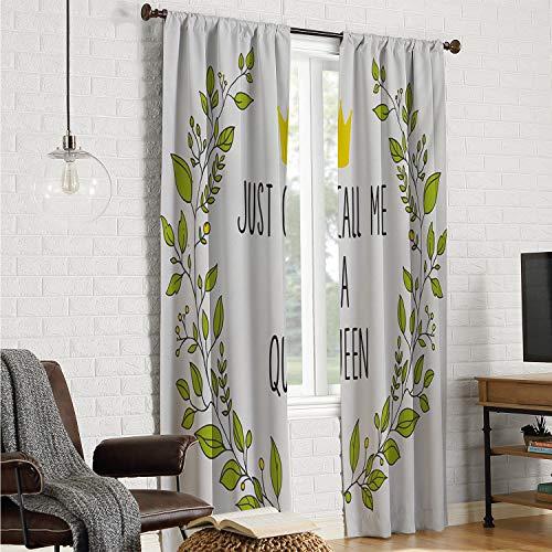 Mozenou Patio Door Curtain Panel Curtains for bedroo Queen,Wreath Branches with Lettering Just Call Me Queen Little Crown,Yellow Apple Green Charcoal Grey W120 x L96 Inch