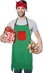 3 otters Christmas Elf Apron, 3PCS Elves Apron Set for Christmas Dress-up Party Favors, Kitchen Cooking & Backing