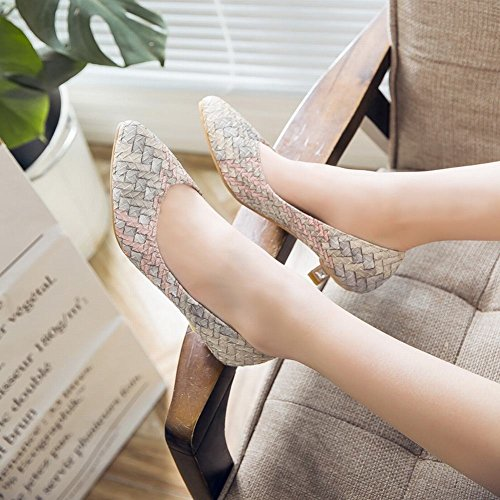 Scarpe Da Donna Con Tacco A Punta Gessato Color Caramello Scarpe Carolbar Scarpe Blu Chiaro