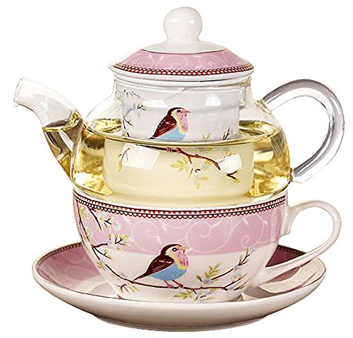 One Glass Teapot - Jusalpha Glass Teapot with a Fine China Infuser Strainer, Cup and Saucer Set,Teapot and Teacup for One, Tea for one #05 (Pink)