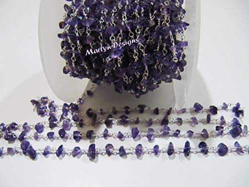 - 50 Feet Natural Genuine Amethyst Uncut Beaded Chain, African Amethyst Nugget Chip Beads Rosary Chain, Wire Wrapped Gemstone Beaded Chain. by LadoNarayani