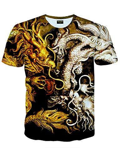 PIZOFF Mens Short Sleeve Luxury Gold/Silver Dragon Design Print T-Shirt AC145-30-L