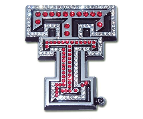 Texas Tech University Red Raiders METAL Auto Emblem - Many Different Colors Available! (Red Crystal) (Red Emblem Crystal)