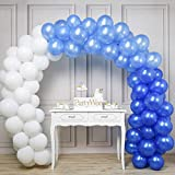 PartyWoo Blue and White Balloons 100 pcs 12 inch Royal Blue Balloons Light Blue Balloons White Balloons Blue Balloons Latex Balloons for Boys Christening, Cinderella Party, Boys 1st Birthday
