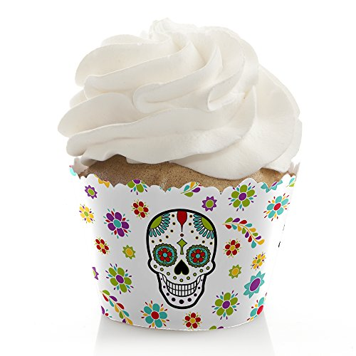 Day of The Dead - Halloween Sugar Skull Party Decoration - Party Cupcake Wrappers - Set of 12