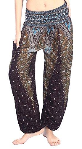 Boho Vib Women's Rayon Print Smocked Waist Boho Harem Yoga Pants (L/XL, Peacock 1 Brown) (Best Yoga Pants Pics Ever)