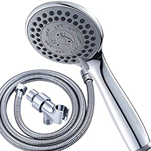 High Powerful 5 Spray Setting Handheld Shower Head With Extra Long  Stainless Steel Hose And Shower Arm Mount Bracket, Chrome