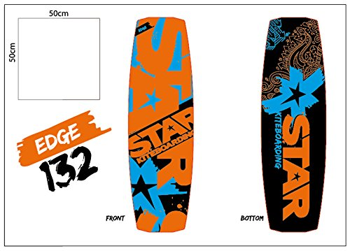 Star Kiteboarding Edge 133 Board, Kitesurfing Boards, Freeride, Powerful, Maneuvrable, 133 x 41 cm All Wind Condition Twin Tips All Riders include Footstraps and 5.2cm Fins by Star Kiteboarding