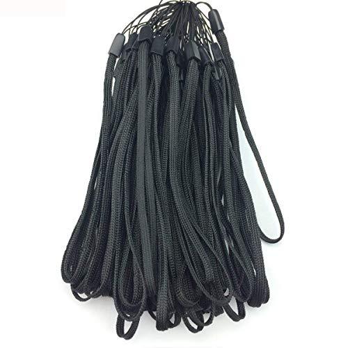 Enfain 7 Nylon Short Handy Wrist Lanyards in Bulk for USB Flash Drives, Keys, Badges (50 Pack, Black)