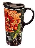 Floral 17 oz. Ceramic Travel Cup