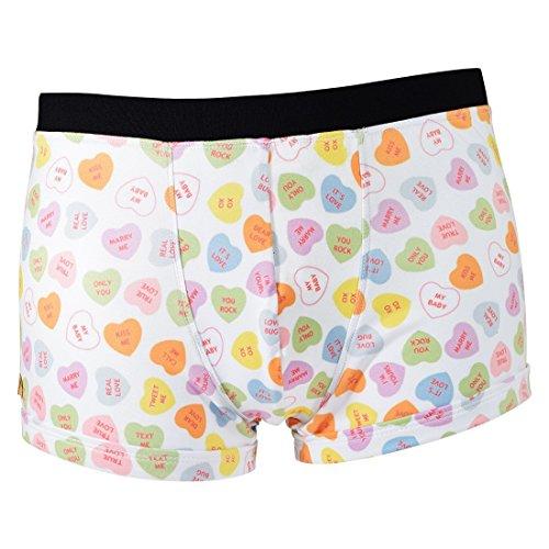 Santa Playa Sweets & Treats Super Soft Breathable Boxer Brief Trunk, Fun Print Men's Underwear :: Candy Hearts (M, White) -