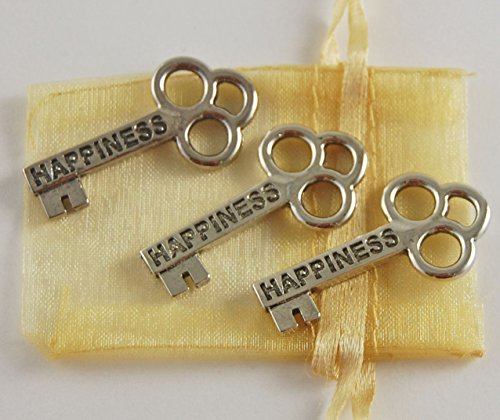 Set of 3 Happiness Mini Key Pocket Tokens with Organza Bag