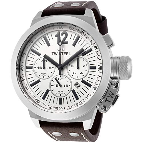 - TW Steel Men's CE1008 CEO Canteen Brown Leather White Chronograph Dial Watch