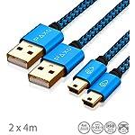 2-x-4m-cavo-di-ricarica-per-controller-PS3-cavo-da-USB-a-Mini-USB-lungo-cavo-intrecciato-intrecciato-placcato-oro-blunero