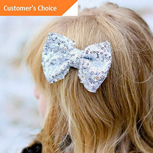 Werrox Cute Kids Girl Baby Hair Bow Hairpin Glitter Shiny Sequin Bow knot Hair Clips | Model HRPN - 2968 | ()