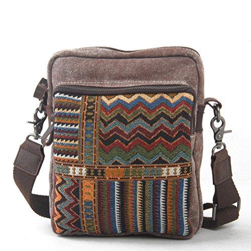 Nasis Vintage Canvas und Leder Unisex Messenger Bag Umhängetasche Schultertasche Alltagtasche AL4133 (kaffee)