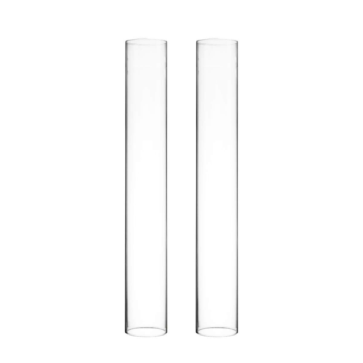 CYS EXCEL Pack of 6 Glass Hurricane Candle Holders, Tabletop Protection Decoration, Chimney Tube, Glass Cylinder Open Both Ends, Open Ended Hurricane, Candle Shade (2.5'' Wide x 18'' Tall)