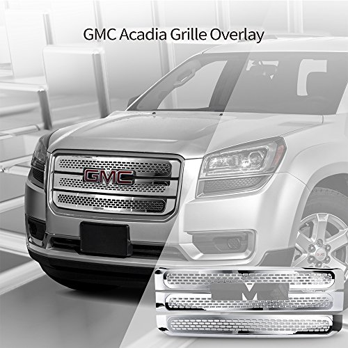 Grille Overlay Fits 2013-2016 GMC Acadia | Denali Style Chrome ABS Front Bumper Grille Cover Hood Mesh Guard Tape On by IKON MOTORSPORTS | 2014 2015 ()