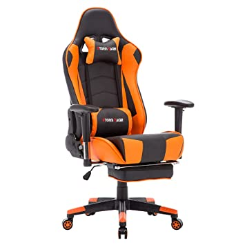 Storm Racer ergonómico Gaming Chair Silla de Respaldo Alto Silla de Oficina con reposapiés Ajuste reposacabezas y Apoyo Lumbar Silla de Racing (Orange-T): ...