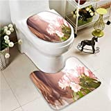 Printsonne Soft Toilet Rug 2 Pieces Set Female sex Machine-Washable